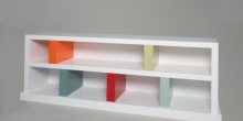 White lacquer shelf with color inserts