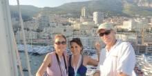 On Athena mast lift with Elaine Foo and Athena captain Max Cumming