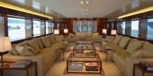 The living room of 77 meter yacht Smeralda