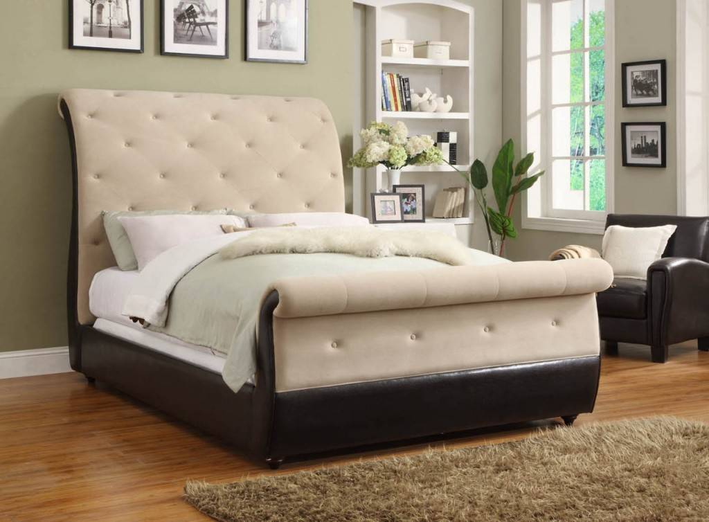 velvet tufted sleigh bed