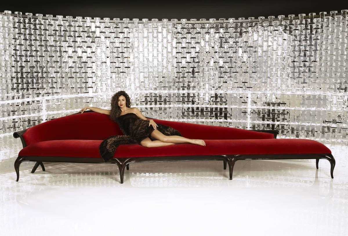Sofia Milos on Christopher Guy Sofa