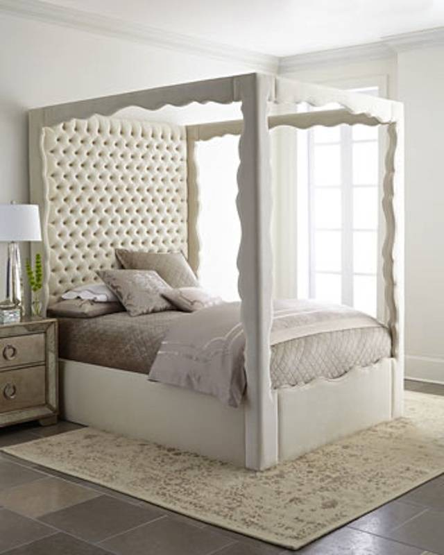 Marketed by Horchow, this bed features a scalloped alder wood frame and  button-tufted headboard, a combination that gives off a regal appearance  and is ...
