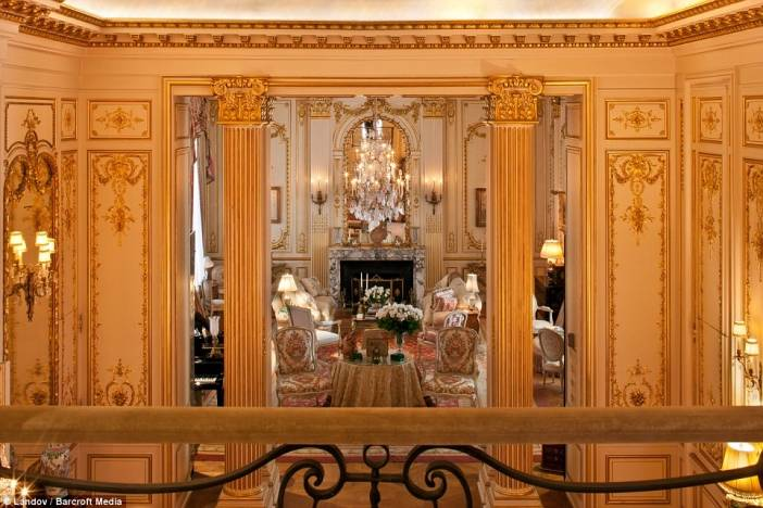 Visitors to Rivers' home are initially greeted by a grand ballroom with gilded columns.