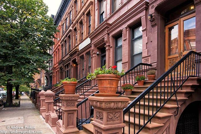 Brownstones dominate cross streets on the Upper West Side.