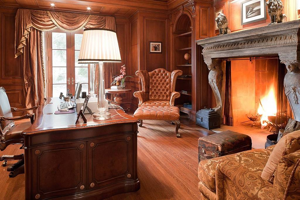 Wood moldings and fireplaces are a staple.