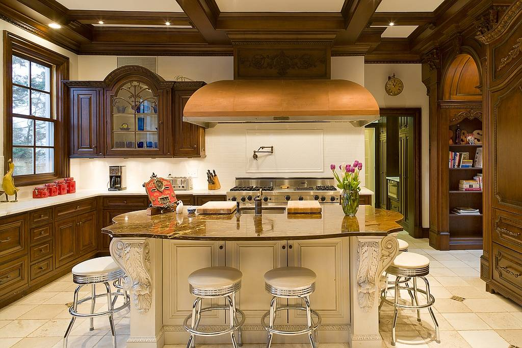 Modern kitchen appliances complement traditional accents.