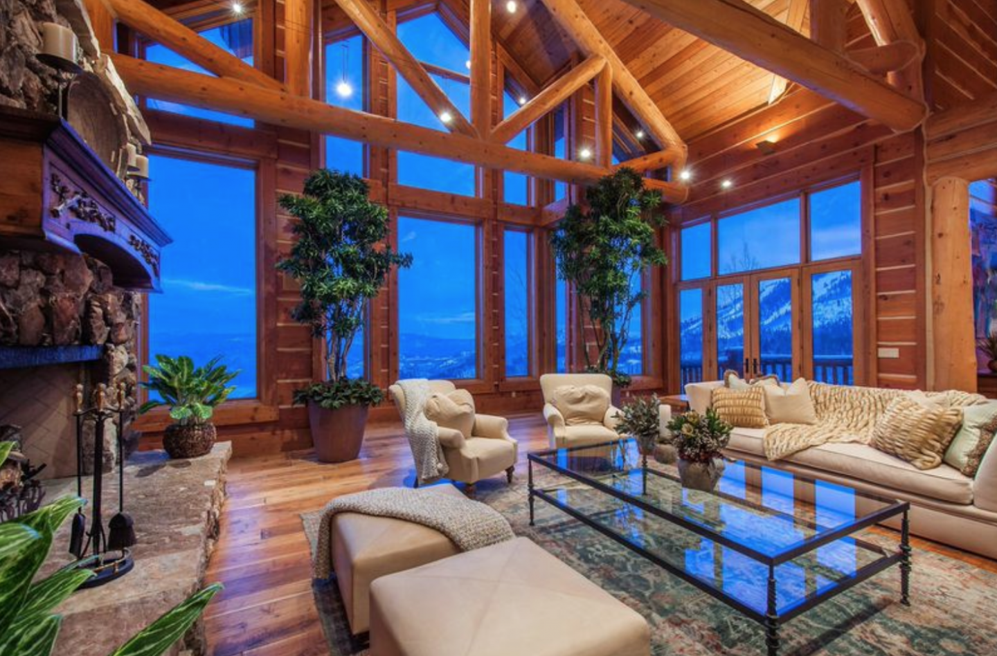 Wood beams pervade the home.