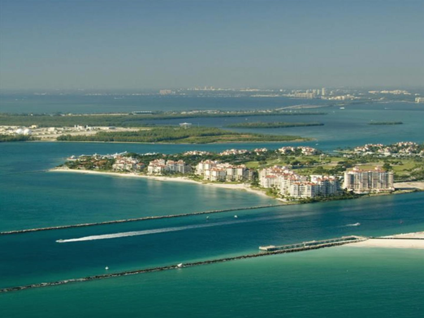 Fisher Island was created when a channel was cut through the bay.