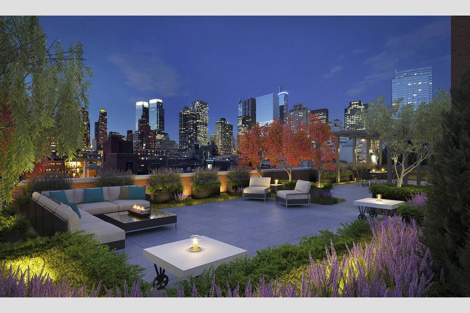 The building boasts a 4,200-square-foot landscaped rooftop terrace with panoramic views of Manhattan.