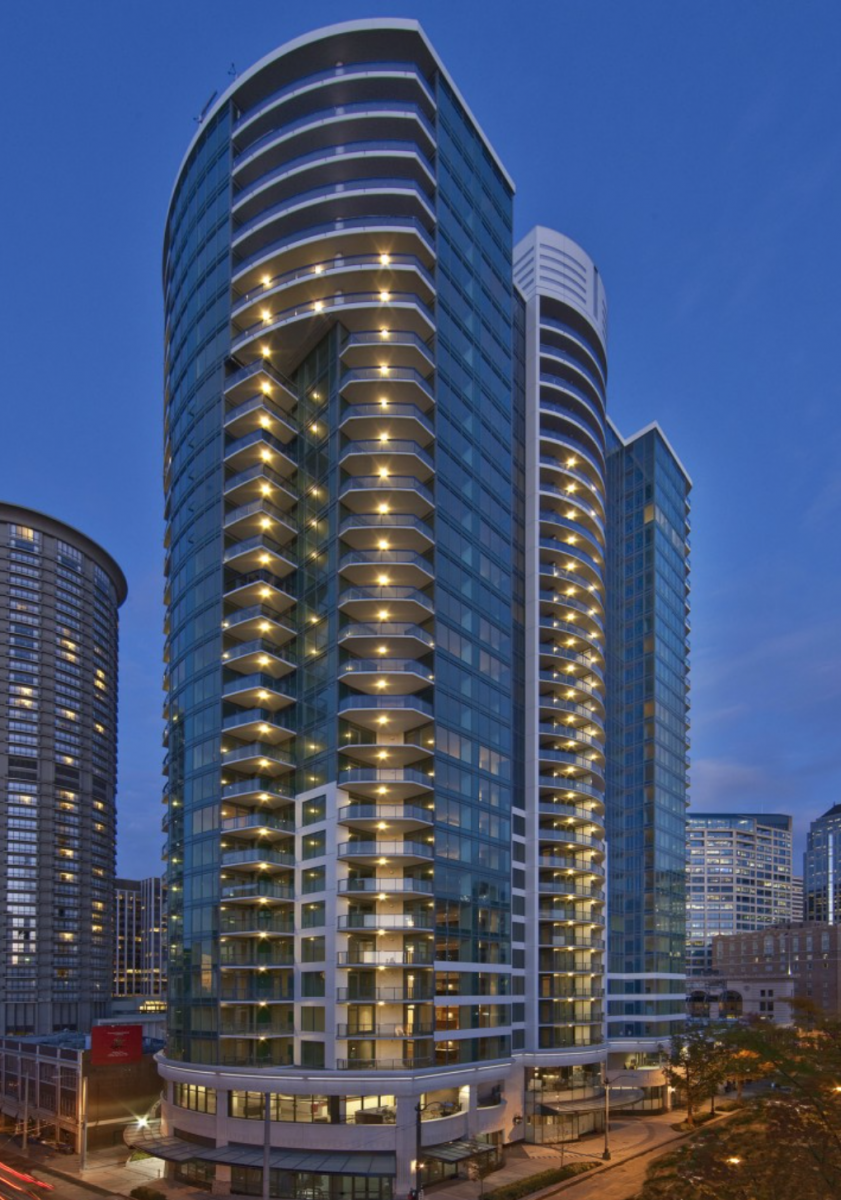The Escala tower is located in Seattle's lively Belltown neighborhood.