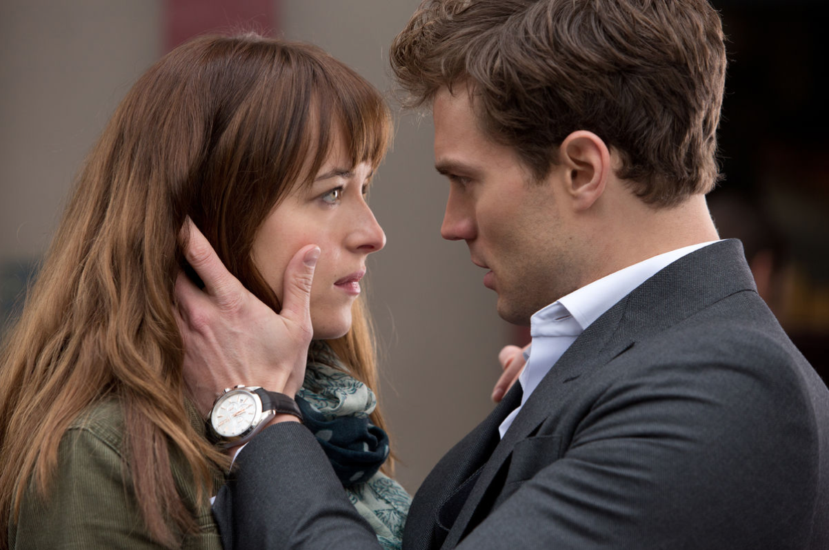 Jamie Dornan and Dakota Johnson play fictional characters Christian Grey and Ana Steele in Fifty Shades of Grey.