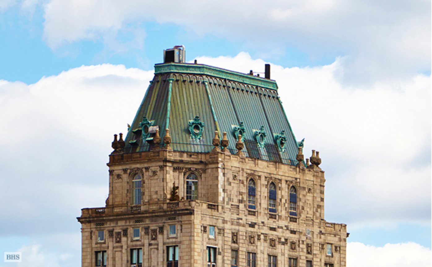 The Pierre Hotel's iconic mansard rooftop perched above the triplex penthouse.