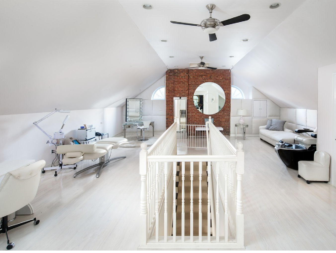 Anthony's 4,800-square-foot guest house was remodeled with an all-white motif.
