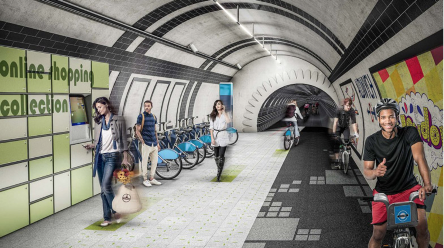 Architecture firm Gensler reimagined London's abandoned tube (subway) tunnels as a subterranean network of cycle paths