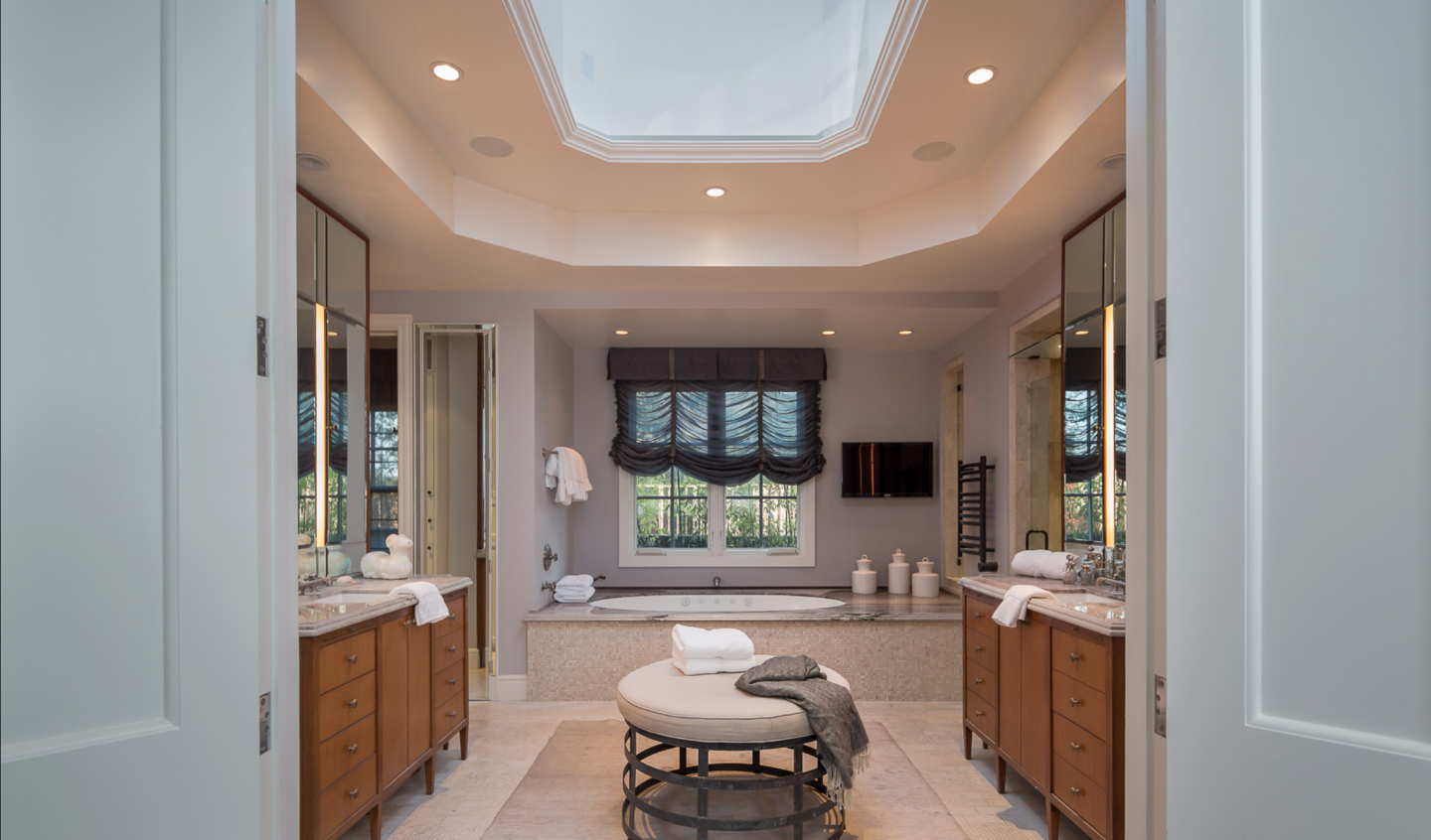 Master bathroom with glass dome skylight