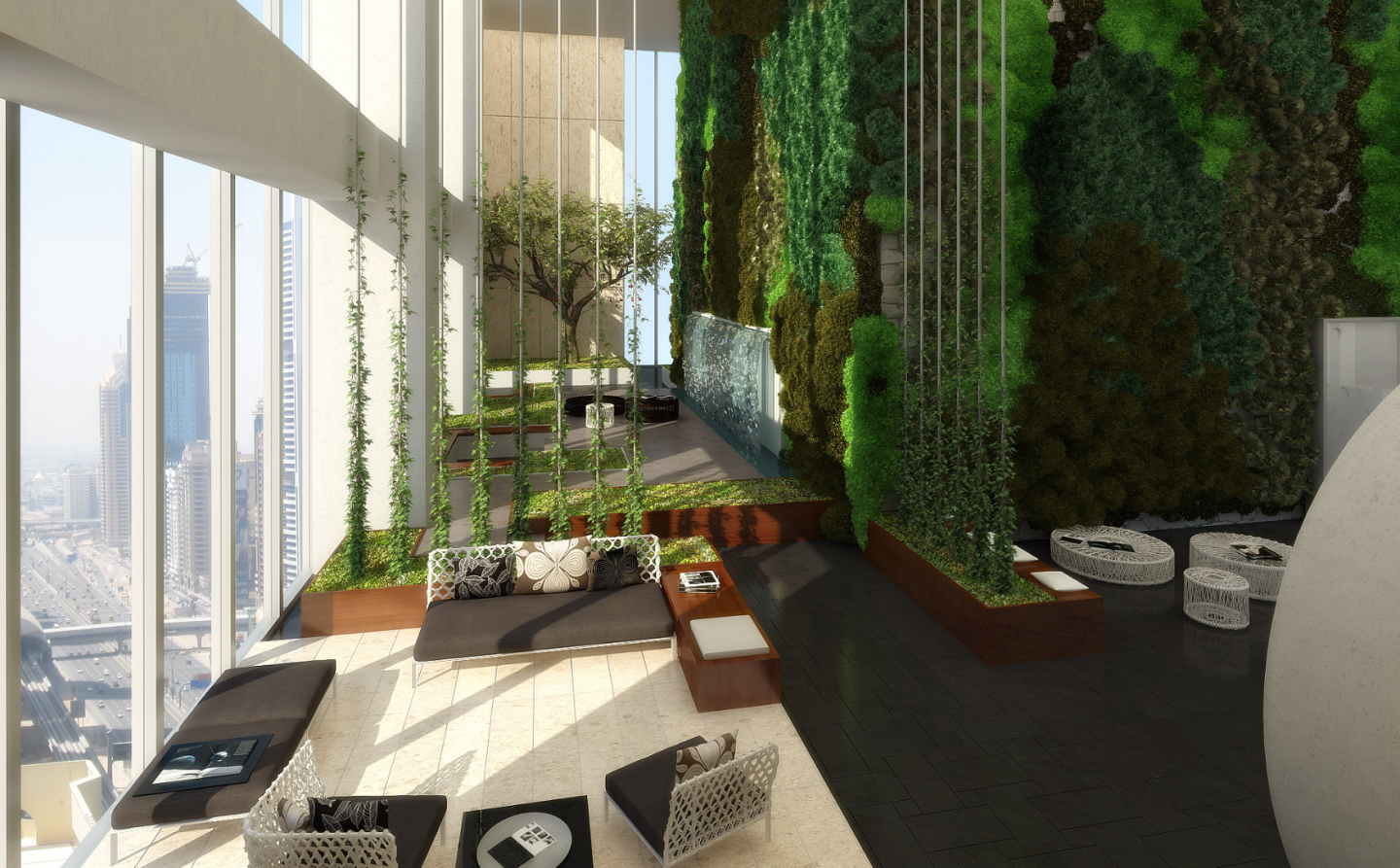 The tower offers two floors of tranquil gardens, including trees and planted walls.