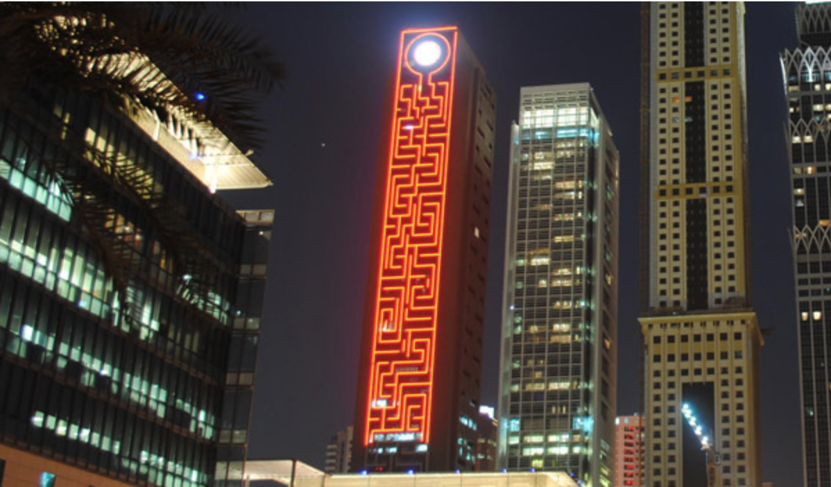 The Maze Tower's exterior façade features multicolored LED lights and a Maze Eye that beams images to great distances.