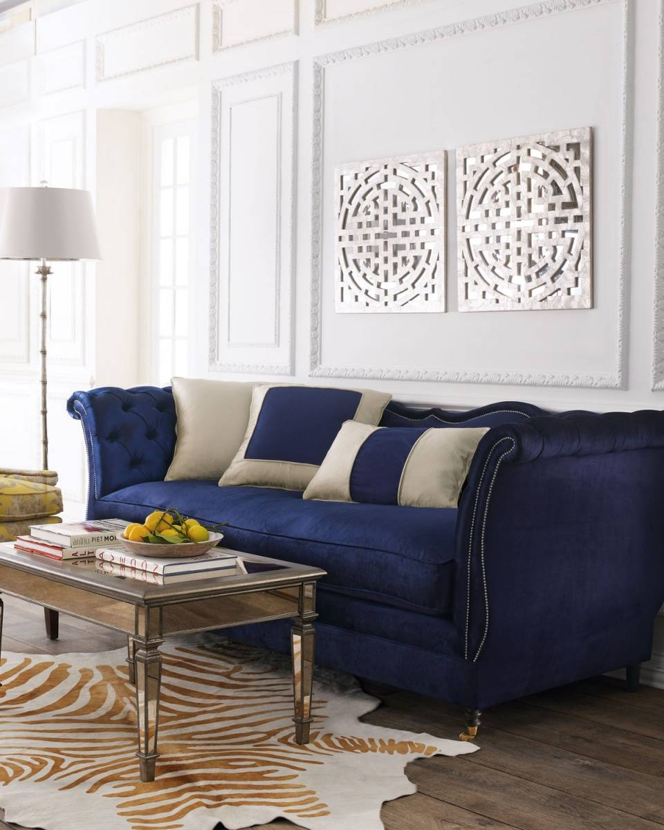 Navy Blue Haute House Velvet Sofa