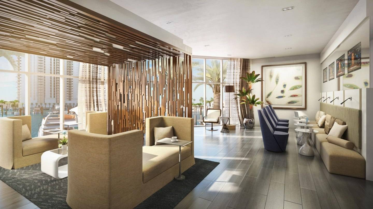 Among the Marina Palms northern tower's plethora of amenities is a luxe and bright news cafe.
