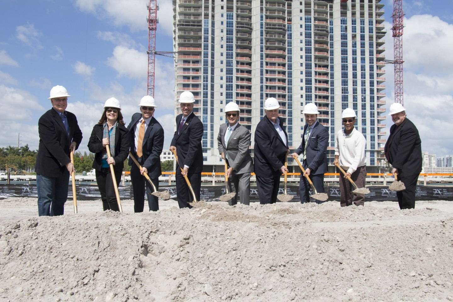 The project's developers pose with the Mayor and the Coastal Construction team at the official groundbreaking of Marina Palms' South Tower.