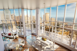 The Lumina penthouse offers five bedrooms, seven bathrooms, two kitchens, eight terraces and 20-foot-tall ceilings along a curvilinear wall of glass overlooking the Bay Bridge