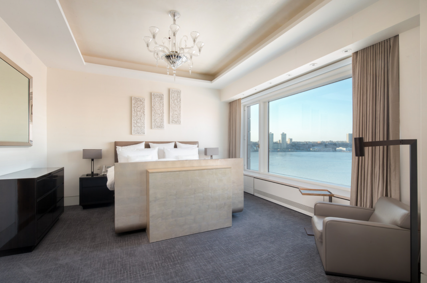 Bedroom with view of Hudson River.