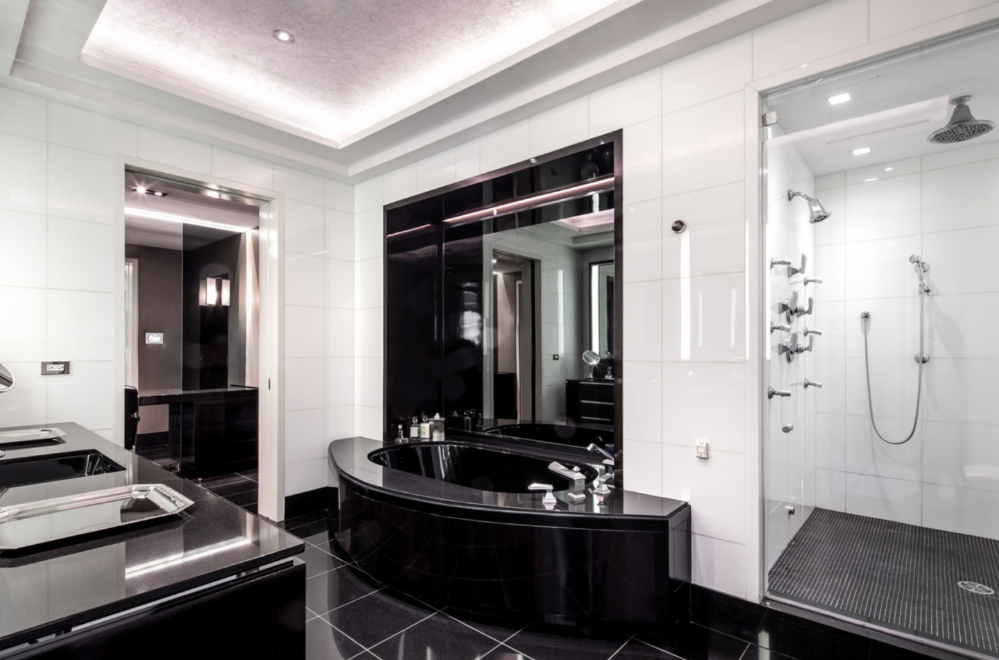 Bold bathroom in black marble.