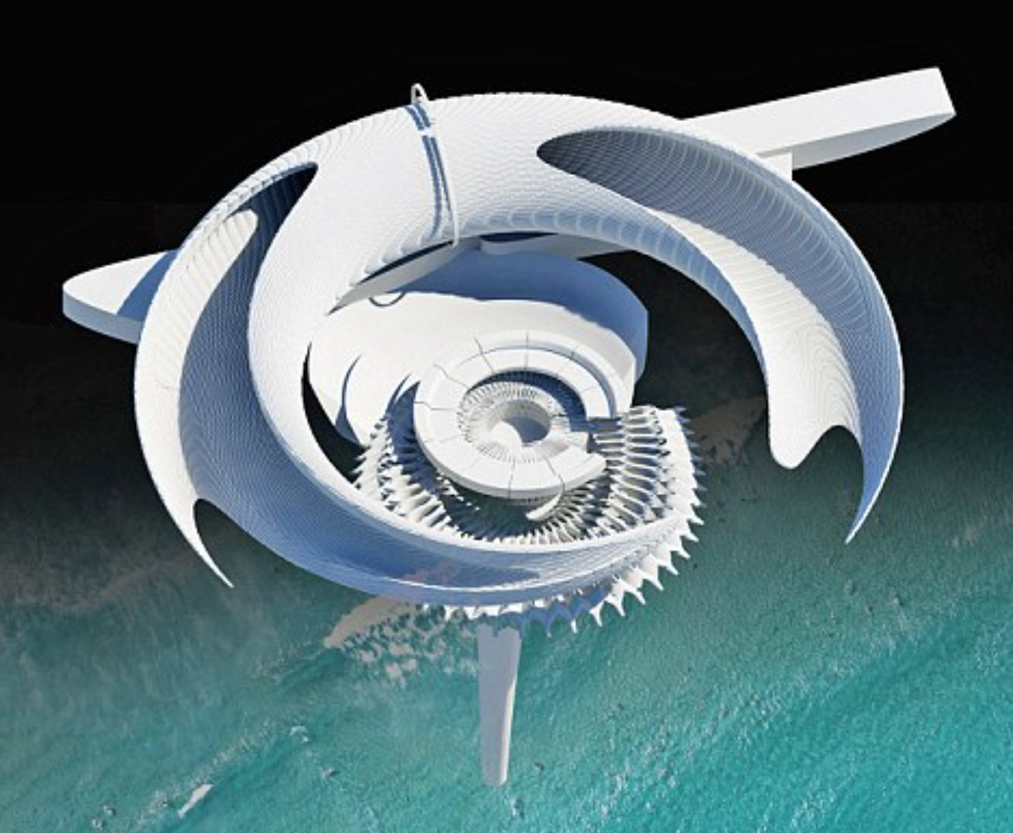What looks like a space station here is a rendering of the porous twisting design and turbines which react to waves.