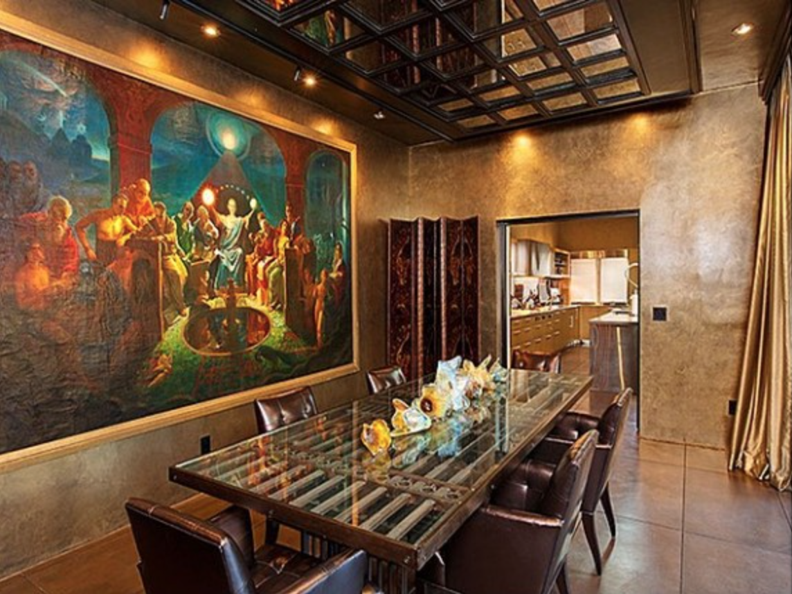 Dining area mural befitting the home's mysterious vibe