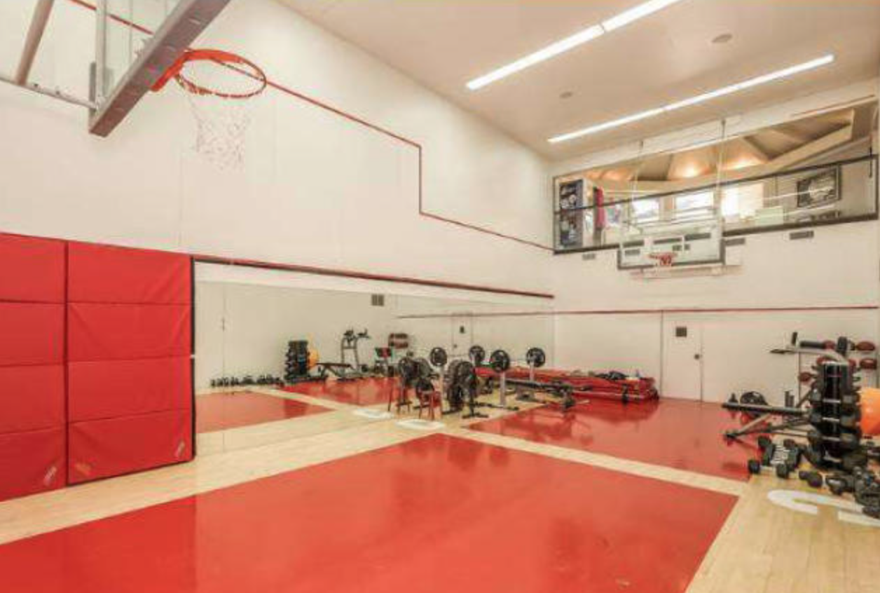 Basketball court and weight room.