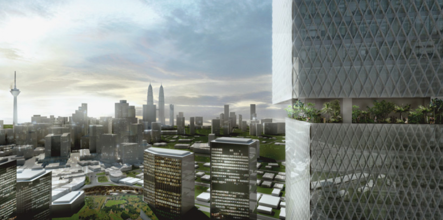 BIG's proposed skyscraper is constructed of articulated prism blocks which utilize strategic terraces and sky lobbies.