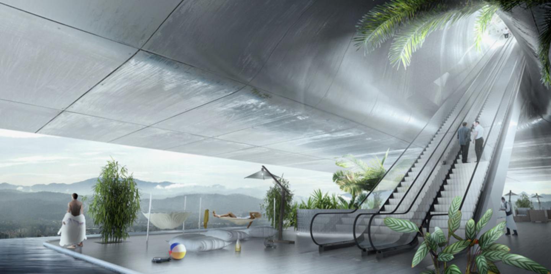 Modern sky lobby with lazy river pool