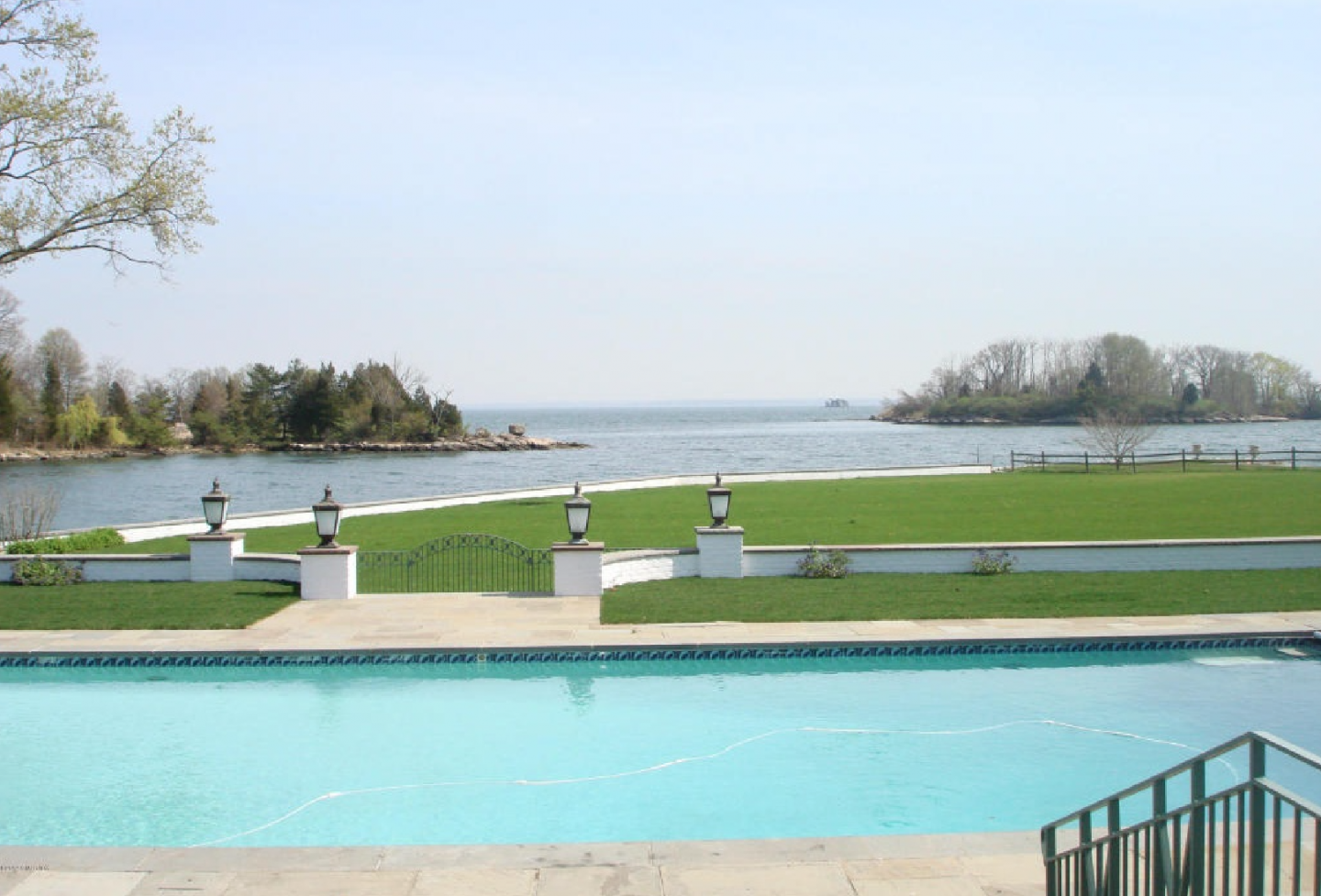 Pool with expansive views of Long Island Sound.