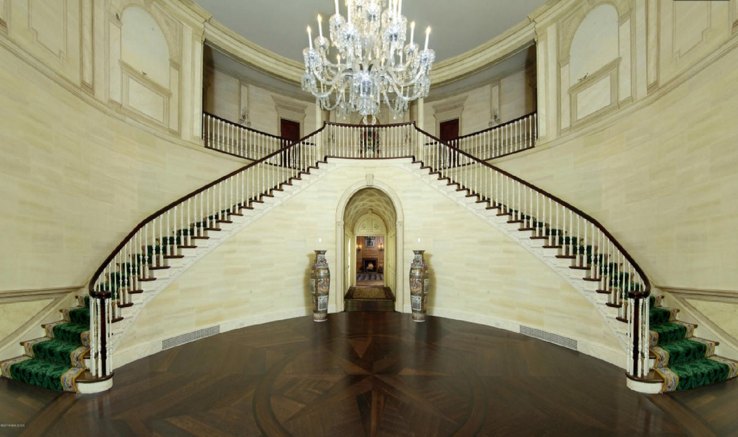 Grand double staircase in the foyer