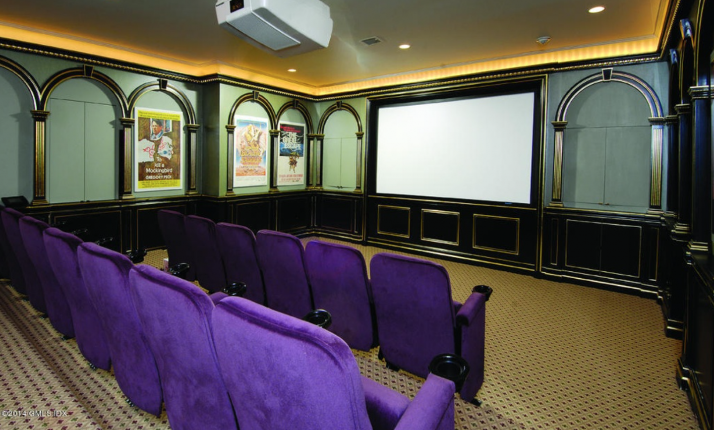 Home theater with lavender seats