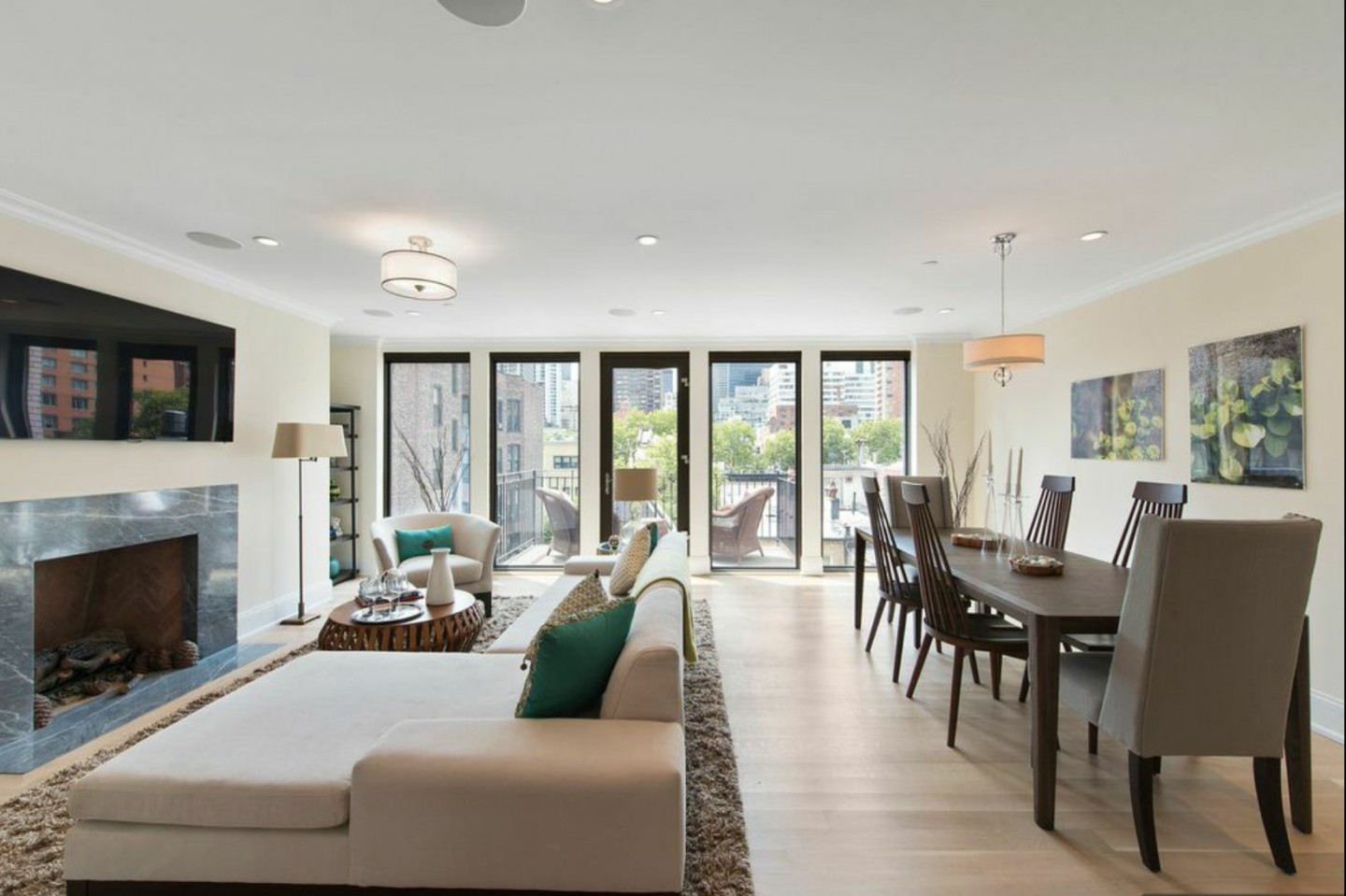 A glimpse of the penthouse living area at The Justin
