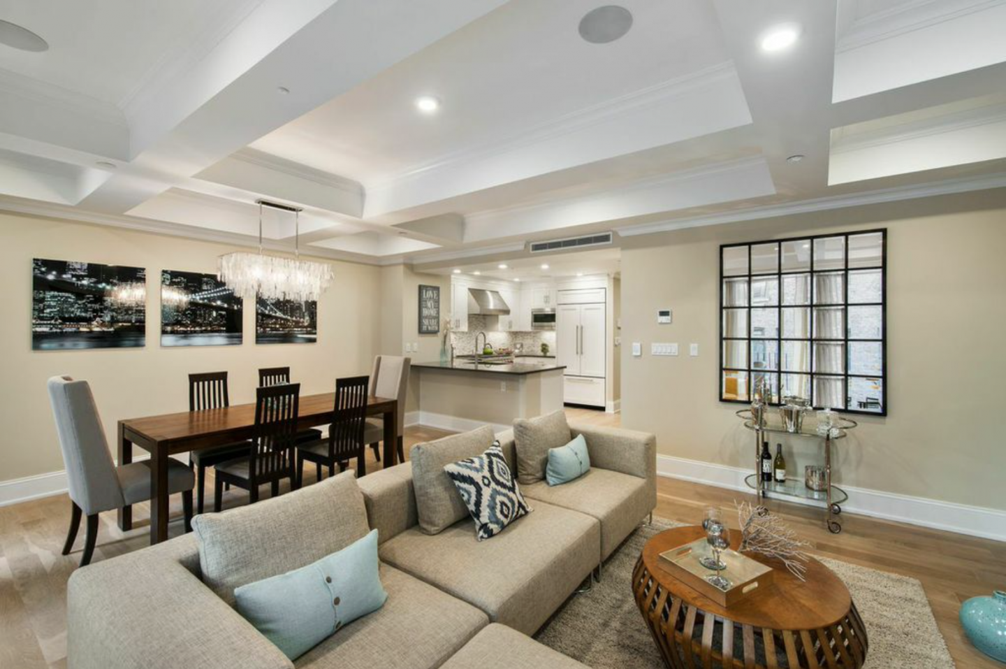 Residence Two features a spacious living and dining area that's 25-feet wide.