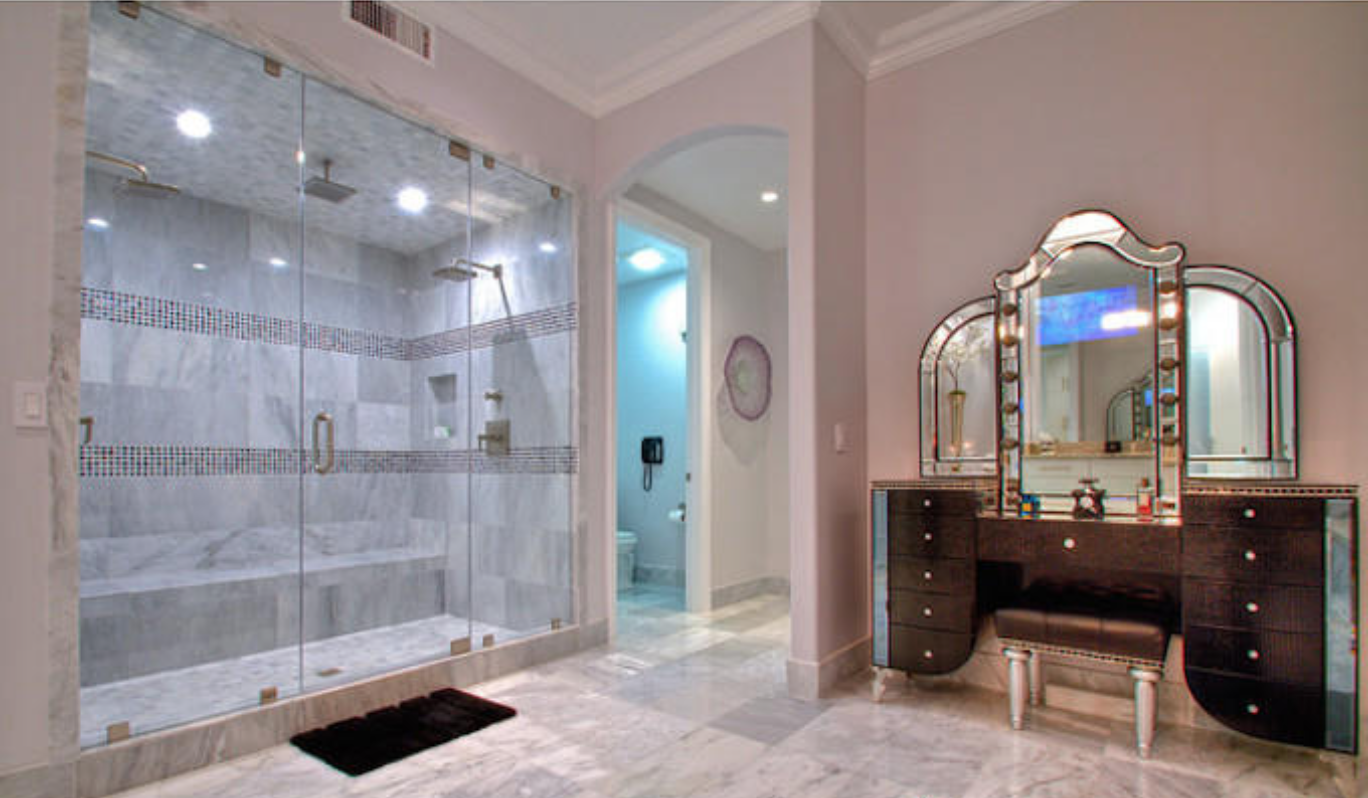 Master bathroom suite with dual head shower
