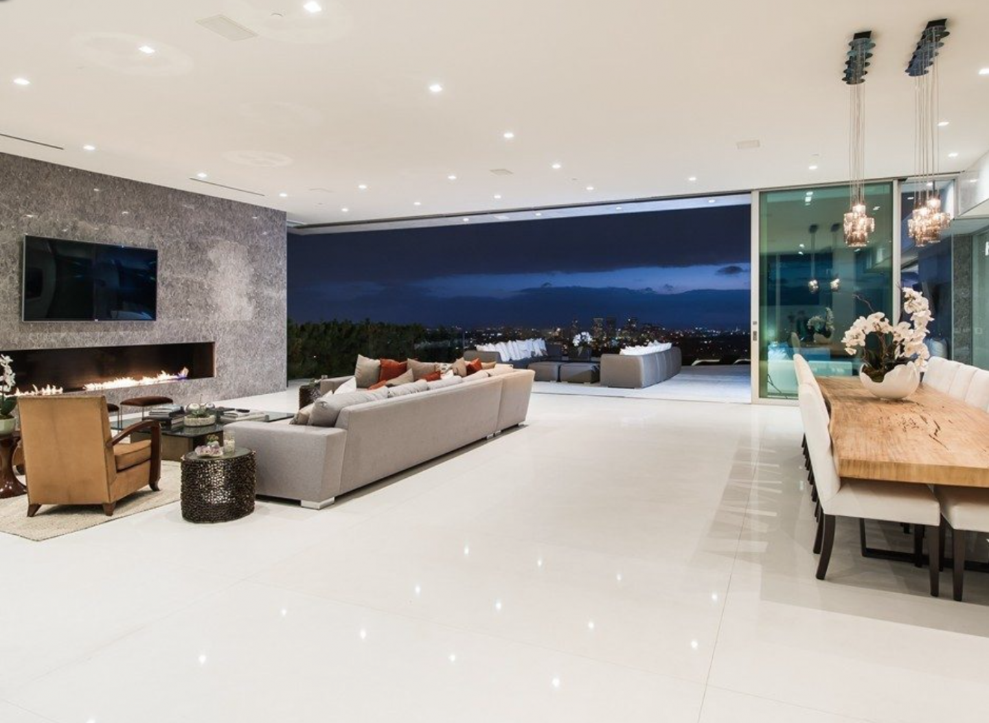 The 8,000-square-foot space opens up to an outdoor terrace.