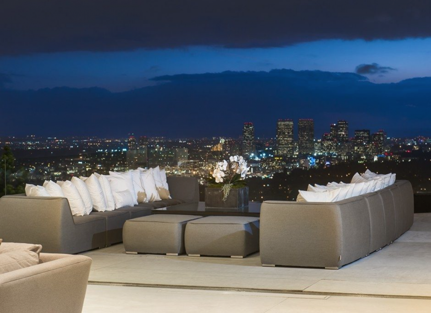 Patio view of Los Angeles at night