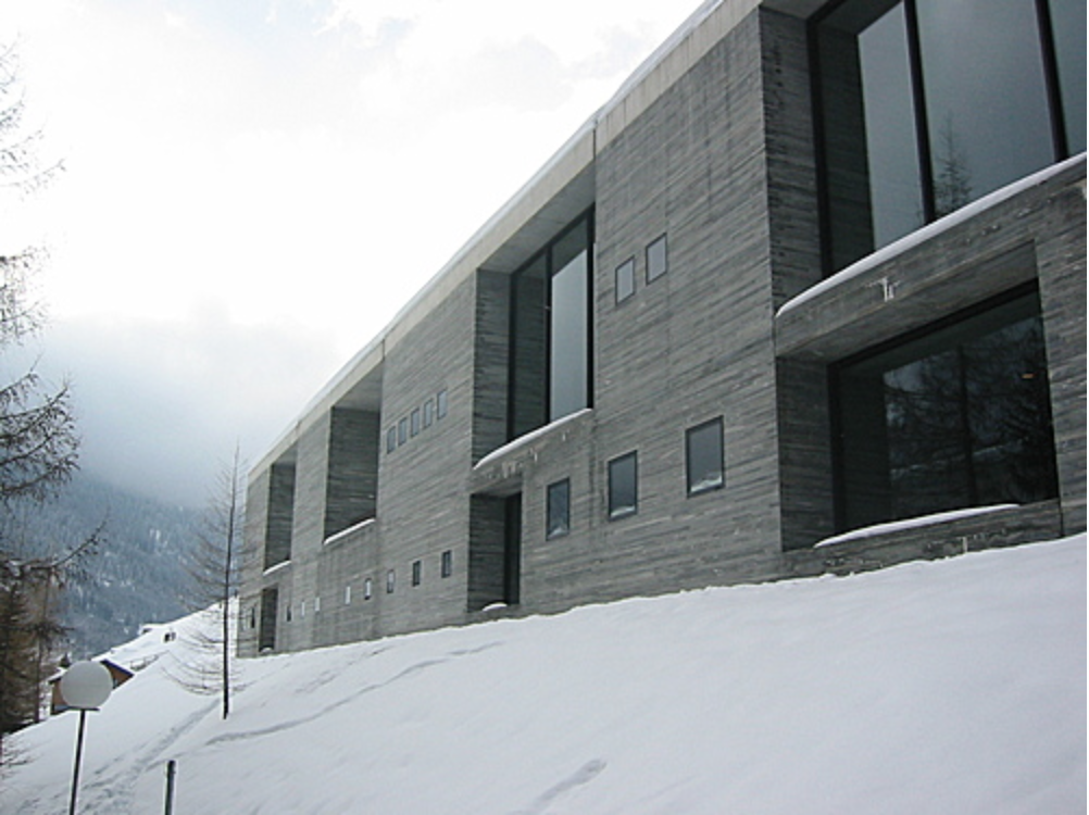 The Therme Vals spa, a world-class tourist destination that contours to the Swiss Alps landscape.