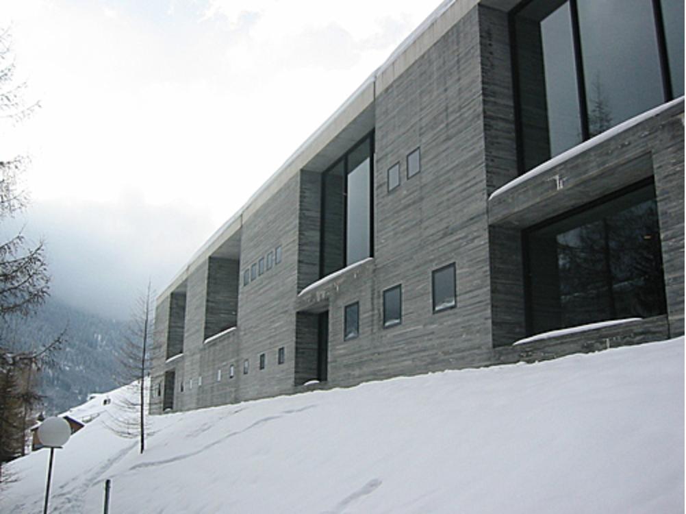 The Therme Vals spa, a world-class tourist destination that contours to the Swiss Alps landscape.