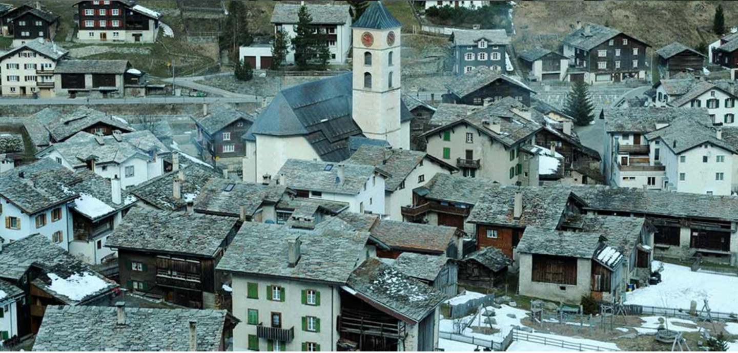 The Swiss Alp village of Vals is populated by an estimated 1000 people.