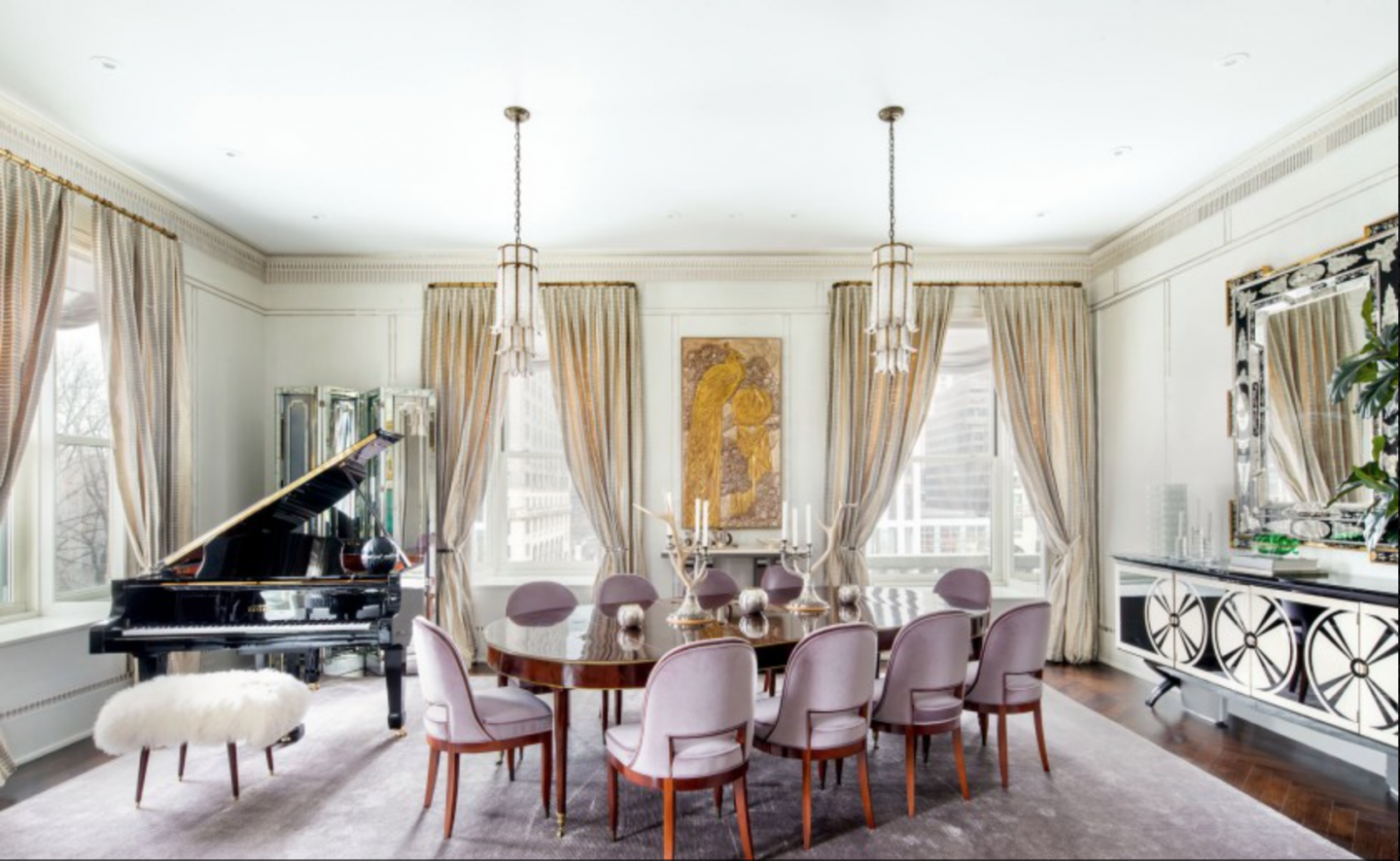 Living and dining room spaces were enlarged during renovation to improve light and views.