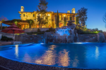 Award-winning infinity pool with waterfall and waterslide