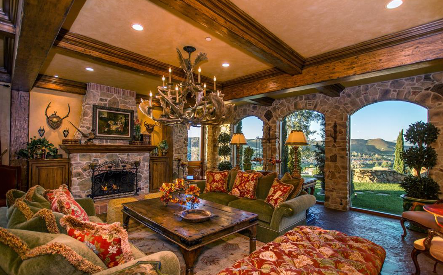 Tuscan styling pervades the home with interiors by Linda Hogan designs--the homeowner's company.
