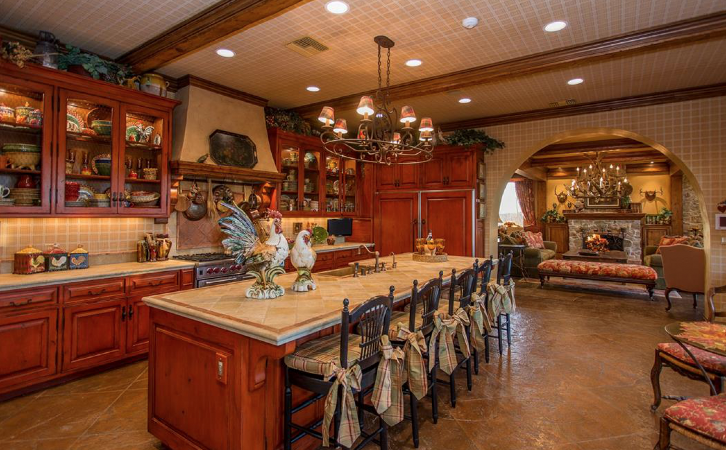 The Tuscan kitchen with custom cabinetry