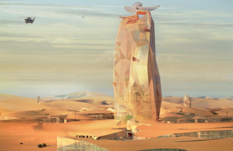 French firms OXO Architects and Nicolas Laisné Associés proposed a unique concept—a desert oasis vertical city.