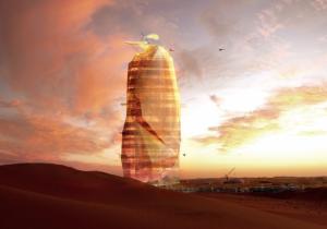 The proposed desert skyscraper illuminates at night.
