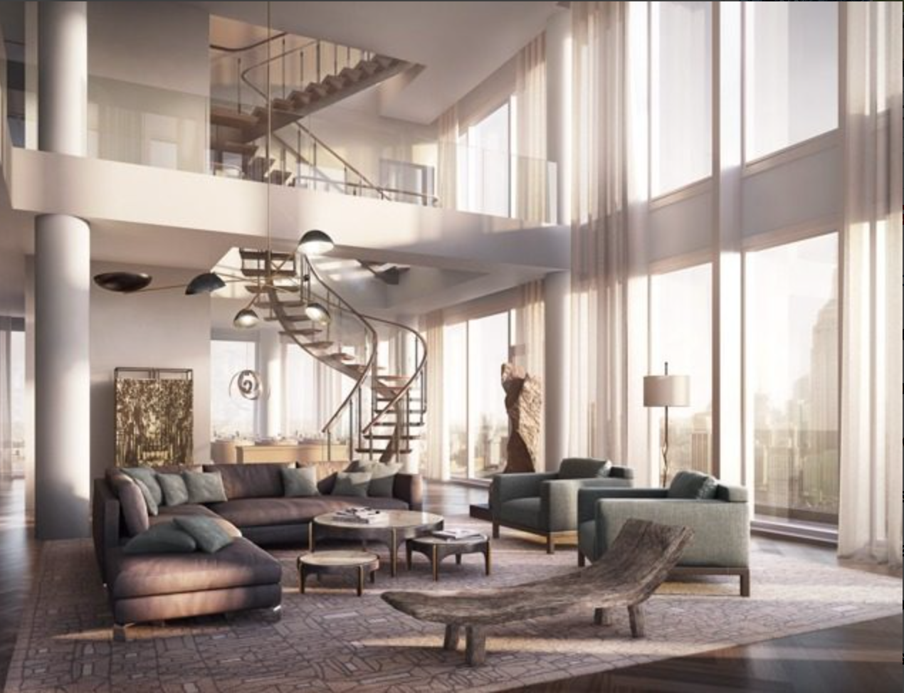 The penthouse boasts a double height Grand Room.